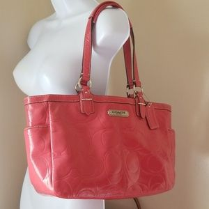 Coach patent leather tote style purse rose pink